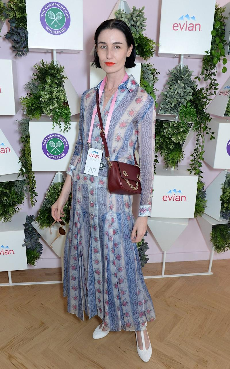 Model Erin O'Connor opted for a shirt dress and white T-bar shoes, both by Emilia Wickstead for Wimbledon last year. - Getty Images Europe