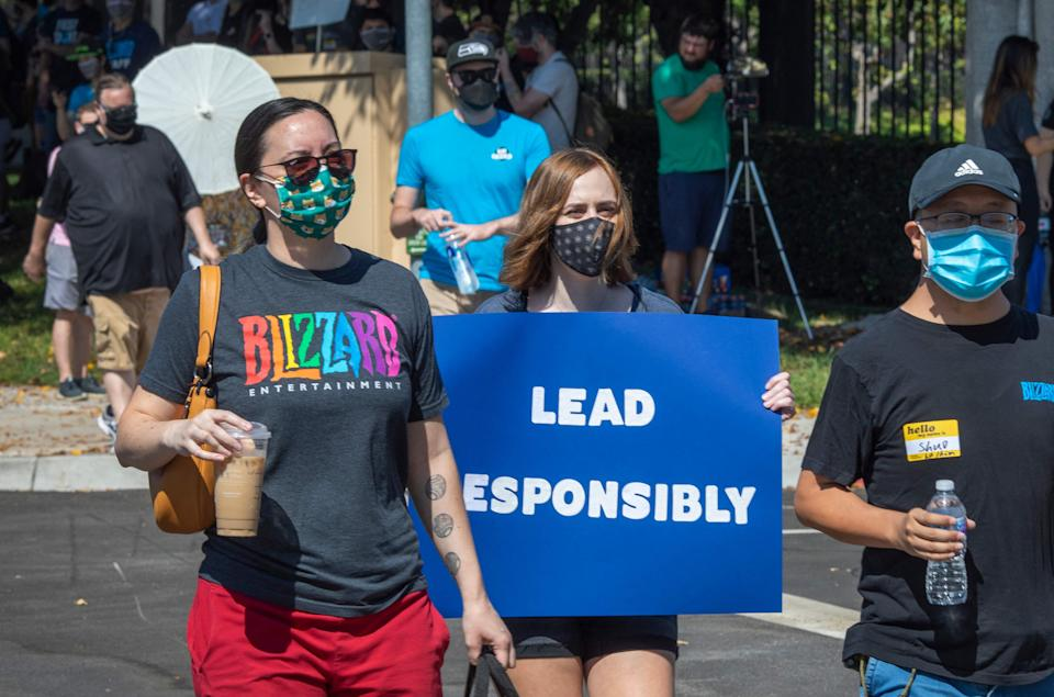 Employees of the video game company Activision Blizzard hold a walkout and protest rally to denounce the company's response to a California Department of Fair Employment and Housing lawsuit and to call for changes in conditions for women and other marginalized groups, in Los Angeles on July 28, 2021.