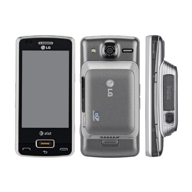 -LG Expo Approx. Price-9500 SIM-Single mini SIM Weight-147 gm Screen size-3.2 inch TFT resistive touch screen.  480 x 800 pixels resolution Storage -Micro SD slot for up to 32 GB Processor-1 GHz RAM-256 RAM, 512 ROM OS-Windows Mobile 6.5 Keyboard-Slideout QWERTY Camera (shooting)-5 MP autofocus with LED flash No front facing cam Battery Average Talktime Standby Life-1500 mAh 4 hour 408 hour Connectivity-WiFi, GPRS, 3G, Bluetooth, microUSB Projector-Detachable 5 lumen DLP Pico projector gives  reasonable visual quality up to 100 inch wide screen Other-Stylus pen, Fingerprint sensor