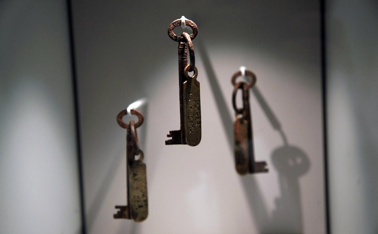 Titanic steward's keys are exhibited at the SeaCity Museum's Titanic exhibition on April 3, 2012 in Southampton, England. The new SeaCity Museum, which will open at 1.30pm on April 10, 100 years to the day since the Titanic set sail from the city. The museum, which cost 15 GBP million, promises to tell the largely untold story of Southampton's Titanic crew and the impact the tragedy had on the city, as well as featuring other aspects of the city's seafaring past.  (Photo by Matt Cardy/Getty Images)