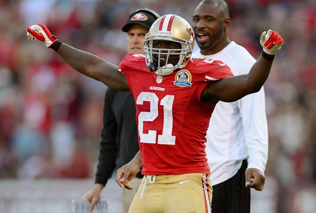 SAN FRANCISCO, CA - DECEMBER 09: Frank Gore #21 of the San Francisco 49ers celebrates after Anthony Dixon scored a touchdown in the fourth quarter against the Miami Dolphins at Candlestick Park on December 9, 2012 in San Francisco, California. The 49ers won the game 27-13. (Photo by Thearon W. Henderson/Getty Images)