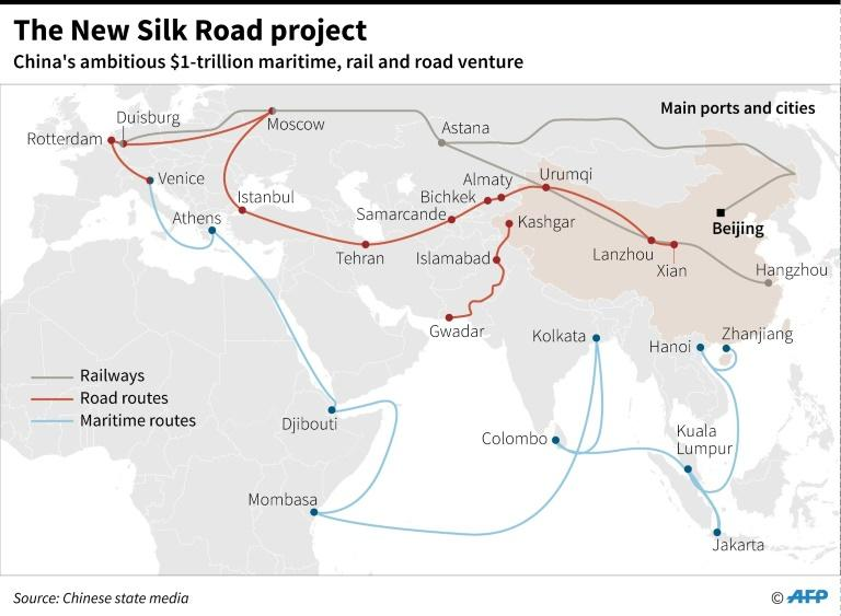 "The ""New Silk Road"" is a massive Chinese infrastructure project including road, rail and ship routes"