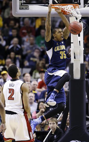 California forward Richard Solomon (35) dunks over UNLV forward Khem Birch (2) during the first half of a second-round game in the NCAA college basketball tournament in San Jose, Calif., Thursday, March 21, 2013. (AP Photo/Jeff Chiu)