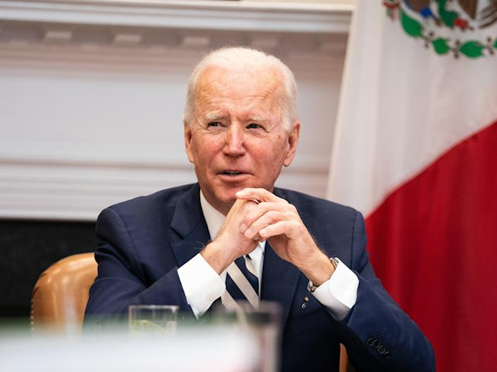 Joe Biden pictured in the Roosevelt Room of the White House on 1 March (Getty Images)