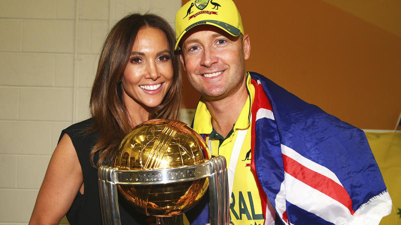 Michael and Kyly Clarke, pictured here celebrating with the 2015 Cricket World Cup trophy.