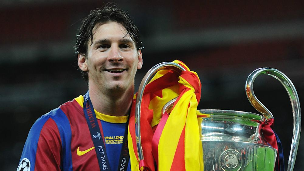 Lionel Messi Barcelona Champions League Trophy