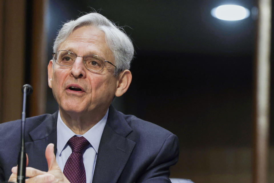 Attorney General Merrick Garland testifies before the Senate Appropriations committee hearing to examine domestic extremism, Wednesday, May 12, 2021 on Capitol Hill in Washington. (Alex Wong/Pool via AP)