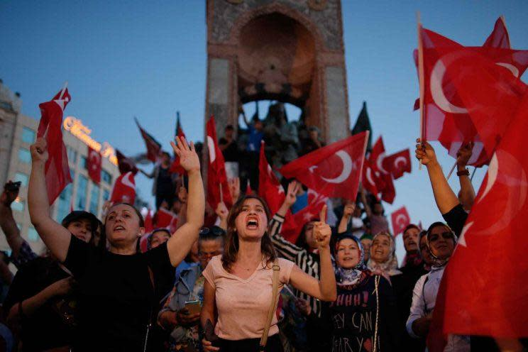 A pro-government rally in Istanbul's Taksim Square on Saturday. (AP Photo/Emrah Gurel)