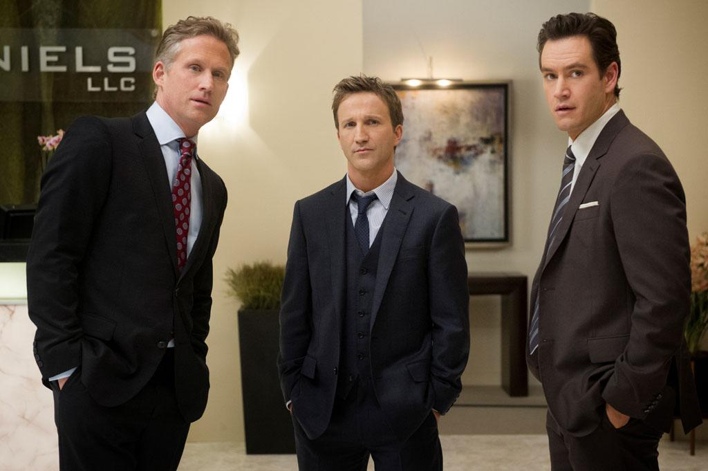 "Reed Diamond, Breckin Meyer, and Mark-Paul Gosselaar in the ""Franklin & Bash"" Season 3 Premiere, ""Coffee and Cream."""
