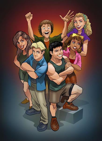 """This image released by Lion Forge Comics shows an animated version of the cast from the popular TV series """"Saved by the Bell."""" NBCUniversal is partnering with Lion Forge Comics to develop licensed comic books based on popular TV shows from the 1980s and 90s. In addition to """"Saved by the Bell,"""" Lion Forge will will write, develop and publish digital comics based on """"Airwolf,"""" """"Knight Rider,"""" """"Miami Vice,"""" and """"Punky Brewster."""" (AP Photo/Lion Forge Comics)"""