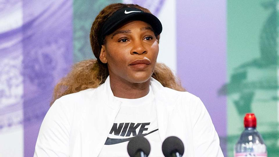 Serena Williams (pictured) speaking at a Wimbledon press conference.