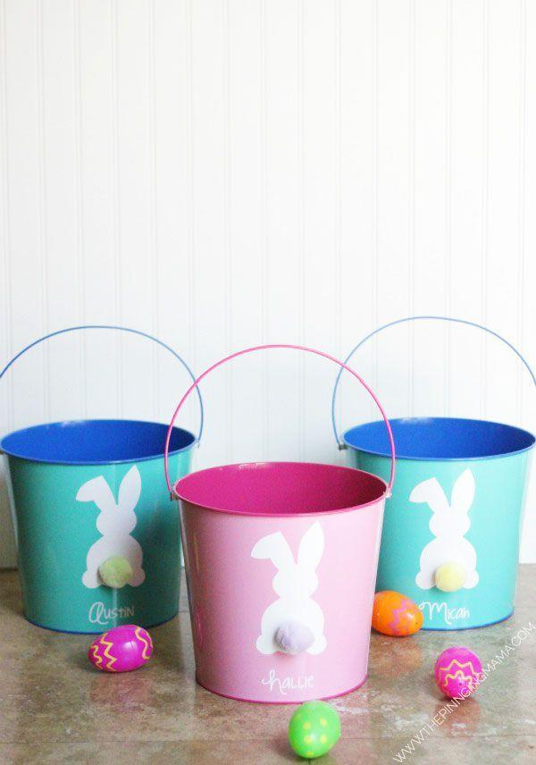 "<p>For a personalized basket that looks store-bought, experiment with adhesive vinyl. </p><p>Get the tutorial at <a href=""https://www.thepinningmama.com/easy-diy-easter-bucket-with-free-silhouette-cut-file/"" rel=""nofollow noopener"" target=""_blank"" data-ylk=""slk:The Pinning Mama."" class=""link rapid-noclick-resp"">The Pinning Mama.</a></p><p><a class=""link rapid-noclick-resp"" href=""https://www.amazon.com/Juvale-24-Pack-Small-Metal-Buckets/dp/B076D6XQKD/?tag=syn-yahoo-20&ascsubtag=%5Bartid%7C10072.g.30506642%5Bsrc%7Cyahoo-us"" rel=""nofollow noopener"" target=""_blank"" data-ylk=""slk:SHOP PAILS"">SHOP PAILS</a></p>"
