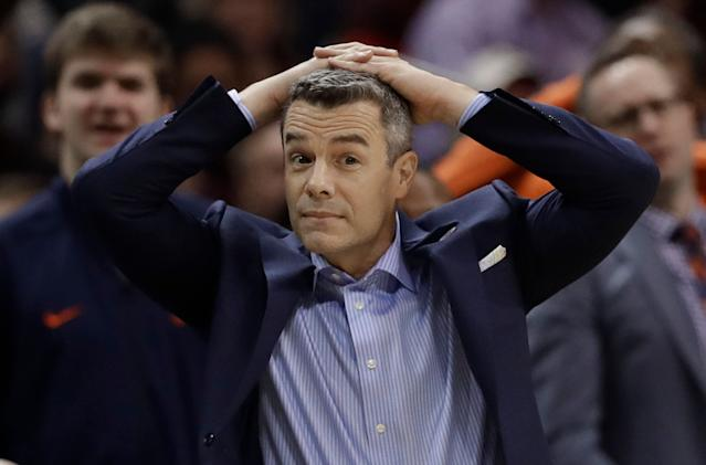 Virginia head coach Tony Bennett hasn't made it through the first weekend of the NCAA tournament in four of the past five years. (AP)