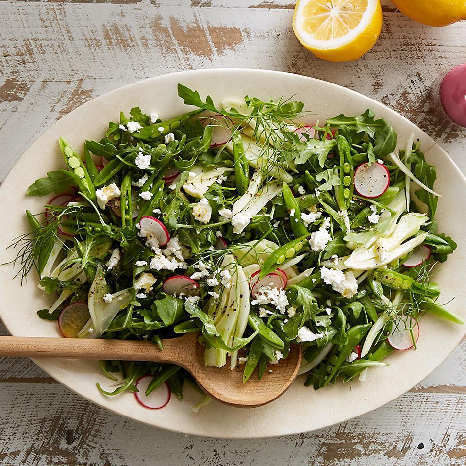 <p>Fresh greens, lemony vinaigrette, briny feta, and crisp radishes and pea pods all come together in this side salad that you'll want at every meal. We love Meyer lemons in this salad, but any variety will do.</p>