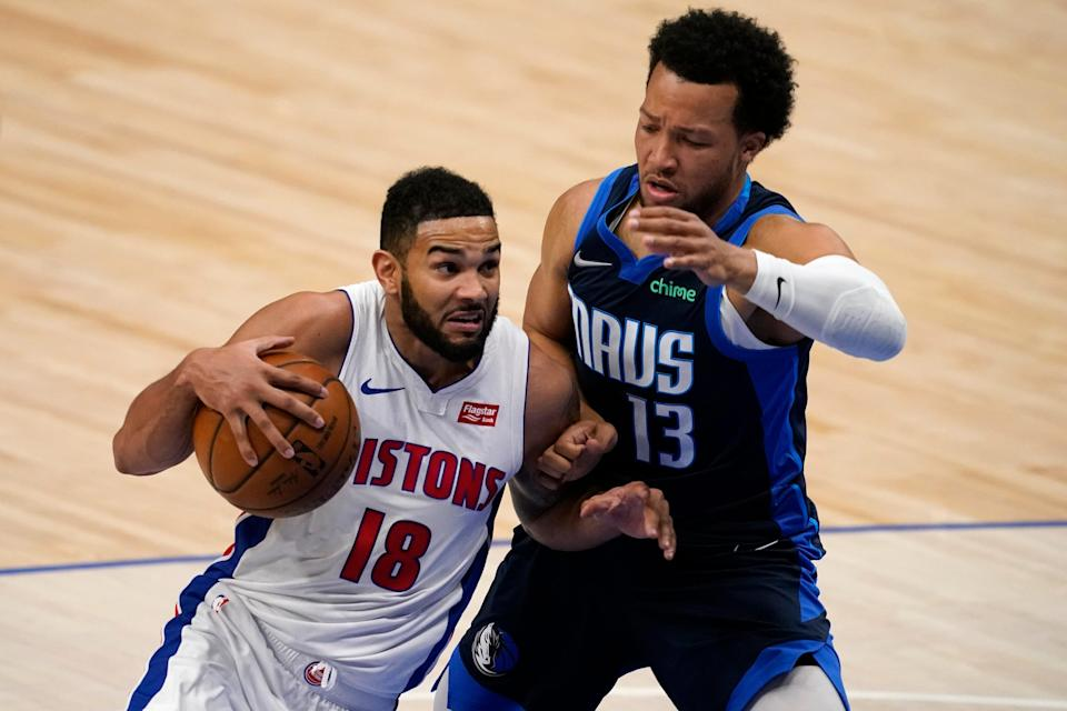 Pistons guard Cory Joseph works to the basket against Mavericks guard Jalen Brunson during the second half on Wednesday, April 21, 2021, in Dallas.