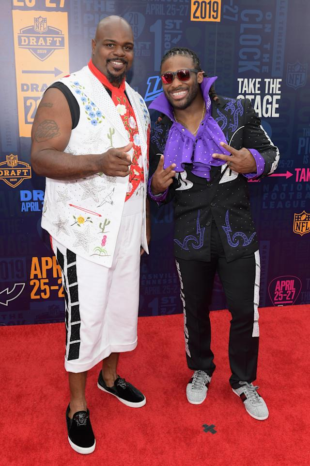NFL Legends Vince Wilfork and DeAngelo Williams attend the 2019 NFL Draft on April 25, 2019 in Nashville, Tennessee. (Photo by Jason Kempin/Getty Images)