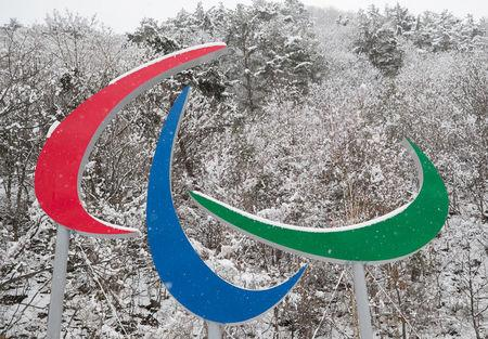 The Paralympic symbols (The Agitos) are seen at the Jeongseon Alpine Centre in Pyeongchang, South Korea, March 8, 2018. OIS/IOC/Simon Bruty/Handout via Reuters