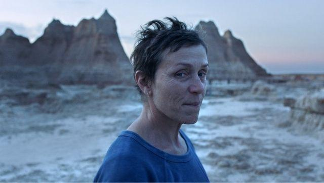 Frances McDormand in a scene from the film Nomadland. Image from Searchlight Pictures via AP