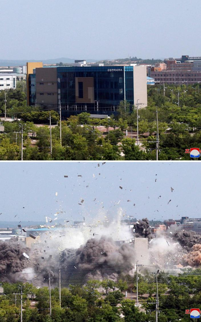 The liaison office before and after the explosion - Newscom / Alamy Live News