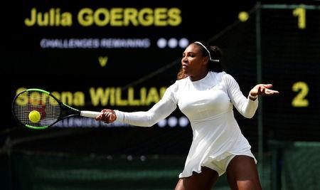 Serena Williams of the U.S. in action during her semi final match against Germany's Julia Goerges. REUTERS/Andrew Boyers