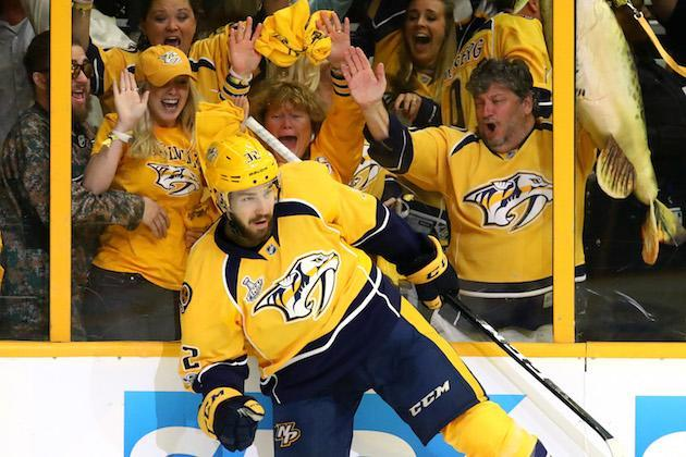 "NASHVILLE, TN – JUNE 03: Frederick Gaudreau #32 of the <a class=""link rapid-noclick-resp"" href=""/nhl/teams/nas/"" data-ylk=""slk:Nashville Predators"">Nashville Predators</a> celebrates after scoring a second period goal against <a class=""link rapid-noclick-resp"" href=""/nhl/players/5774/"" data-ylk=""slk:Matt Murray"">Matt Murray</a> #30 of the <a class=""link rapid-noclick-resp"" href=""/nhl/teams/pit/"" data-ylk=""slk:Pittsburgh Penguins"">Pittsburgh Penguins</a> (not pictured) in Game Three of the 2017 NHL Stanley Cup Final at the Bridgestone Arena on June 3, 2017 in Nashville, Tennessee. (Photo by Bruce Bennett/Getty Images)"
