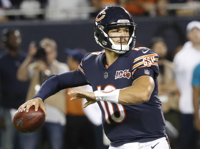 Chicago Bears' Mitchell Trubisky throws during the first half of an NFL football game against the Green Bay Packers Thursday, Sept. 5, 2019, in Chicago. (AP Photo/Charles Rex Arbogast)