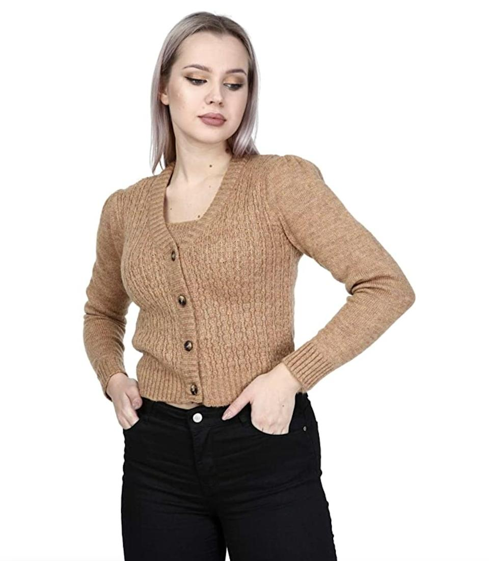 <p>This trendy <span>Beneliza Cardigan Set</span> ($30) is not only feels soft and fuzzy to the touch, but it's designed with a relaxed fit that will keep you comfortable all day. Wear it with high-waist jeans to cover up your belly button for casual Friday.</p>