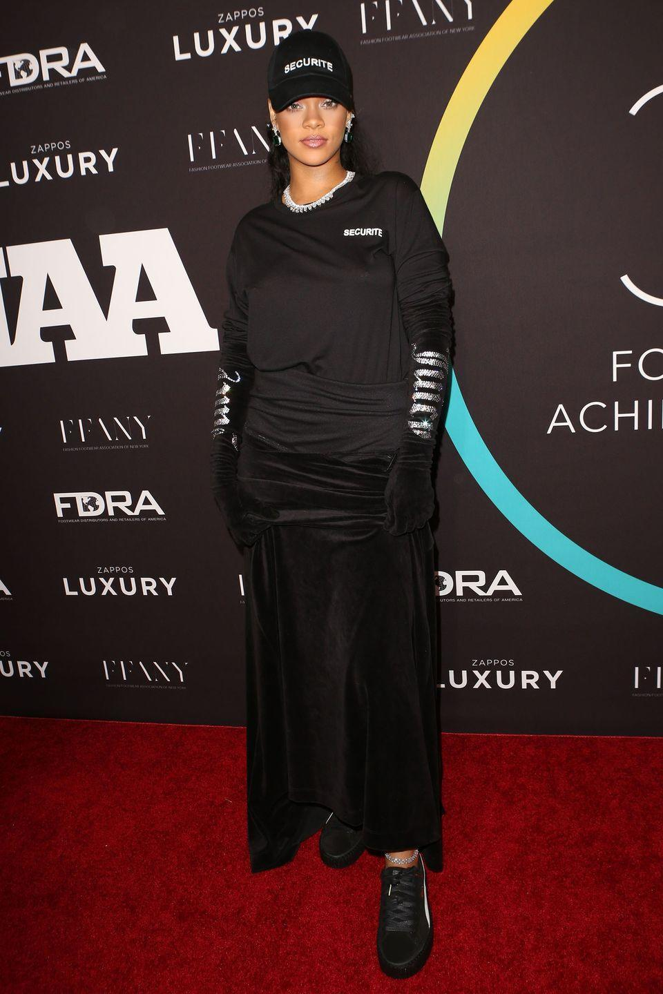 <p>In Fenty x Puma creepers, a Securite basebal cap and long sleeve tee, velvet skirt, velvet gloves and Chopard jewels at the 30th annual FN Achievement Awards in NYC.</p>