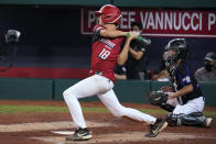 Hamilton, Ohio's Chance Retherford follows through on a two-run triple off Torrance, Calif.'s Dominic Golia during the fifth inning of a baseball game at the Little League World Series in South Williamsport, Pa., Thursday, Aug. 26, 2021. Ohio won 4-2. (AP Photo/Gene J. Puskar)