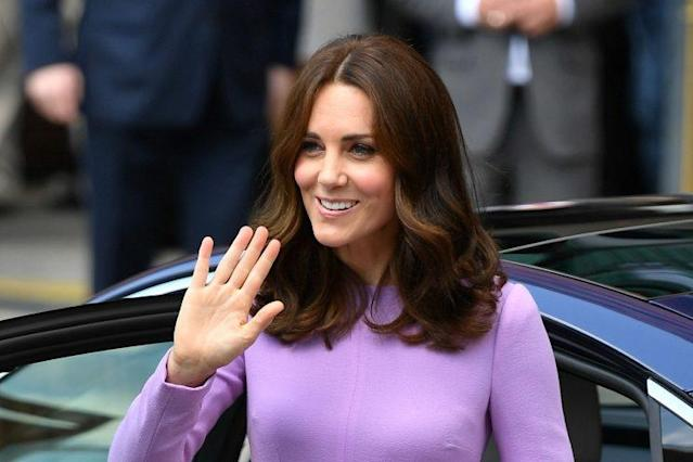 The Duchess of Cambridge wearing lavender on the final day of the royal tour. [Photo: PA]