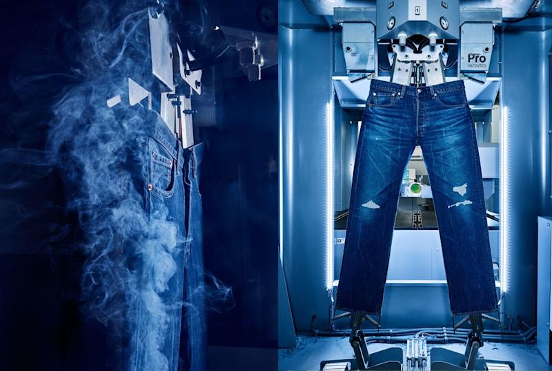 Jeans have a natural way of wearing in, but using lasers, Levi's can now be finished with a worn-in look, right off the rack. | Photographed by Spencer Lowell for Fortune