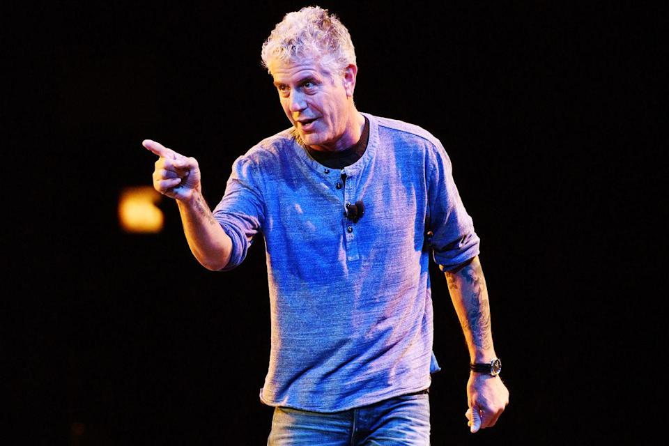 <p>In 2015, Bourdain began a live-speaking tour, called the Close to the Bone Tour. Here, he speaks at the Auditorium Theatre on July 30, 2015 in Chicago.</p>