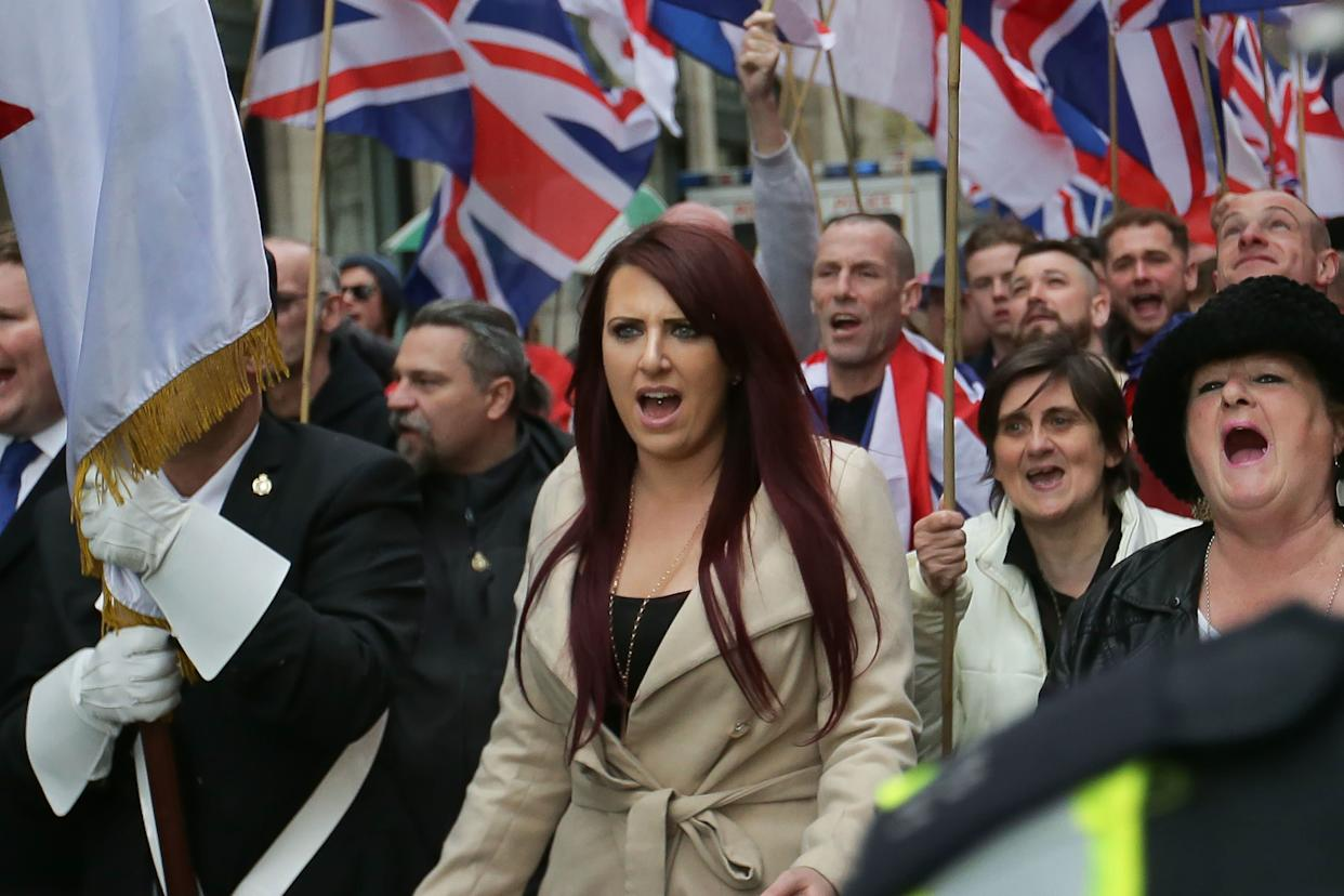 Jayda Fransen, deputy leader of the far-right organization Britain First, participates in a march in central London on April 1, 2017. (Photo: DANIEL LEAL-OLIVAS via Getty Images)