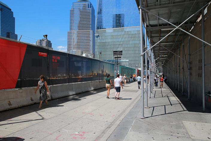 <p>Construction continues on Vesey Street with One World Trade Center in the background, Aug. 29, 2016. (Gordon Donovan/Yahoo News) </p>