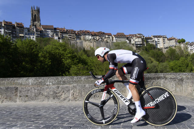 Michael Matthews from Australia of team Sunweb competes during the prologue, a 4,02 km time trial at the 72th Tour de Romandie UCI ProTour cycling race in Fribourg, Switzerland, Tuesday, April 24, 2018. (Jean-Christophe Bott/Keystone via AP)