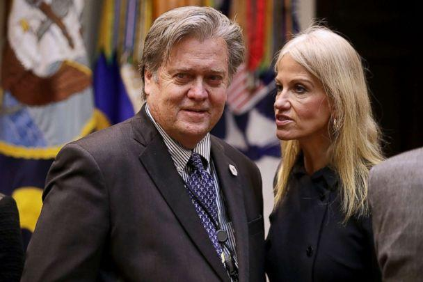 PHOTO: Steve Bannon and Kellyanne Conway wait for the arrival of President Donald Trump for a meeting on cyber security in the Roosevelt Room at the White House, Jan. 31, 2017. (Chip Somodevilla/Getty Images)