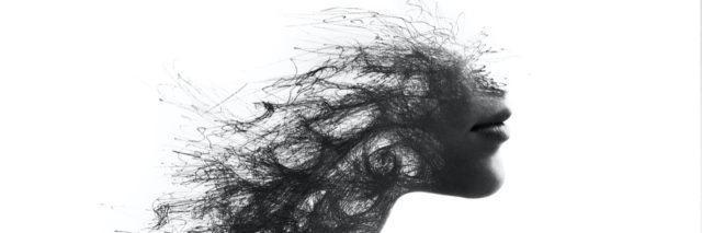 Drawing of woman's face disappearing