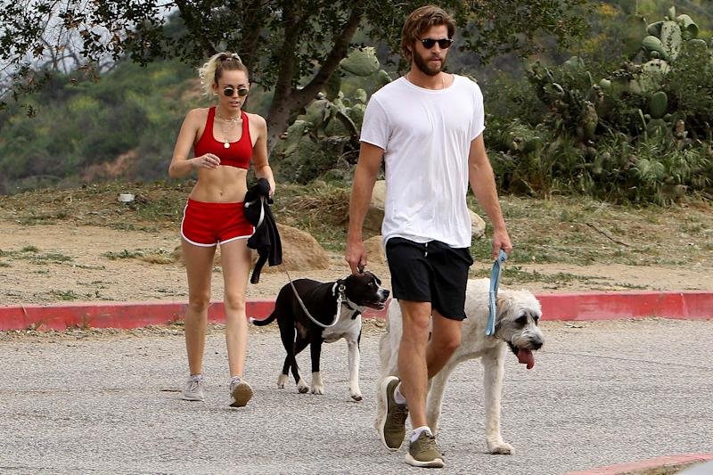 Miley Cyrus Bares Her Abs in a Teeny-Tiny Hiking Outfit with Fiancé Liam Hemsworth