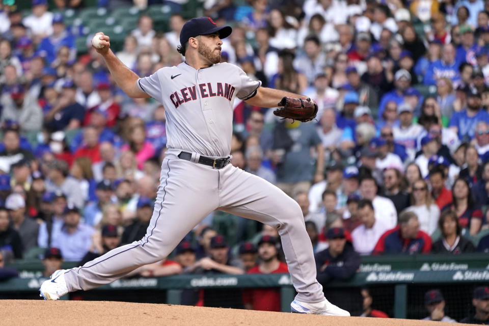 Cleveland Indians starting pitcher Aaron Civale delivers during the first inning of a baseball game against the Chicago Cubs, Monday, June 21, 2021, in Chicago. (AP Photo/Charles Rex Arbogast)