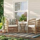 <p>Conduct virtual happy hours in the rustic <span>Mulberry Patio Chat Set</span> ($450).</p>