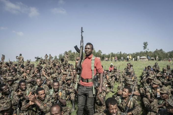 Soldiers from the Ethiopian National Defence Force held a training session in the Amhara region in September (AFP/Amanuel Sileshi)