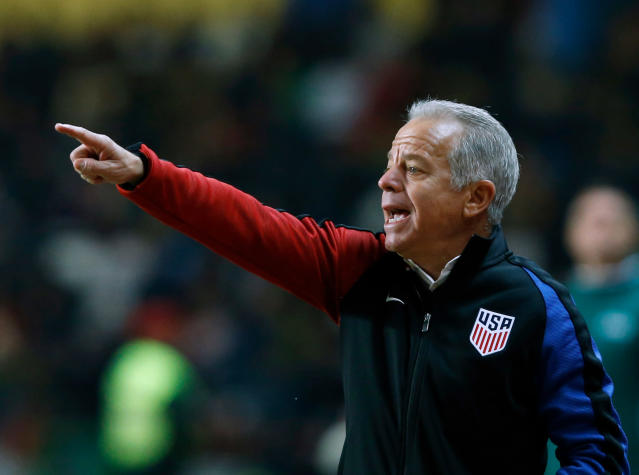 FILE - In this Nov. 14, 2017, file photo, U.S. interim coach Dave Sarachan gestures during an international friendly soccer match between Portugal and U.S. in Leiria, Portugal. Midfielders Weston McKennie and Tyler Adams have played their way onto the top tier of the U.S. player pool along with defender Matt Miazga, according to interim coach Dave Sarachan, who says the trio would receive strong consideration for a World Cup roster if the Americans were headed to Russia in June. (AP Photo/Pedro Rocha, File)