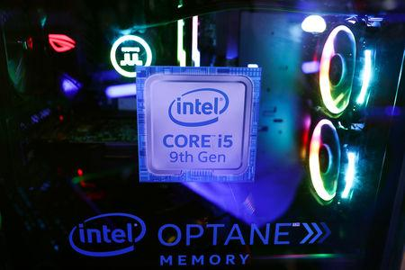 The Intel logo is seen on a computer at the Thailand Game Show 2018 in Bangkok, Thailand, October 26, 2018. REUTERS/Athit Perawongmetha
