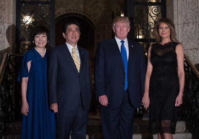 <p>For dinner at Mar-a-Lago with the Prime Minister of Japan and his wife Akie Abe, Melania wore a fitted black dress with a lace overlay. She paired the look with black Christian Louboutin pumps.</p>