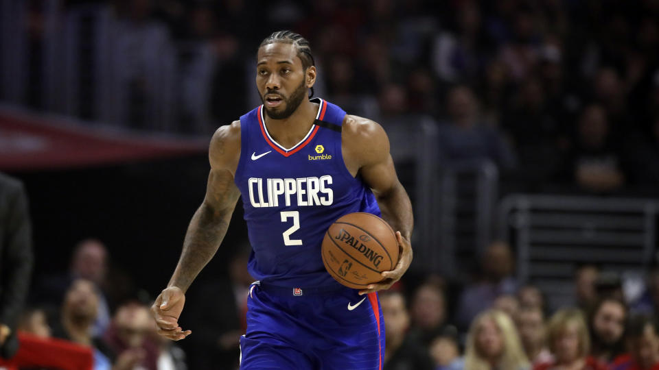 Los Angeles Clippers' Kawhi Leonard during the first half of an NBA basketball game against the Sacramento Kings Saturday, Feb. 22, 2020, in Los Angeles. (AP Photo/Marcio Jose Sanchez)