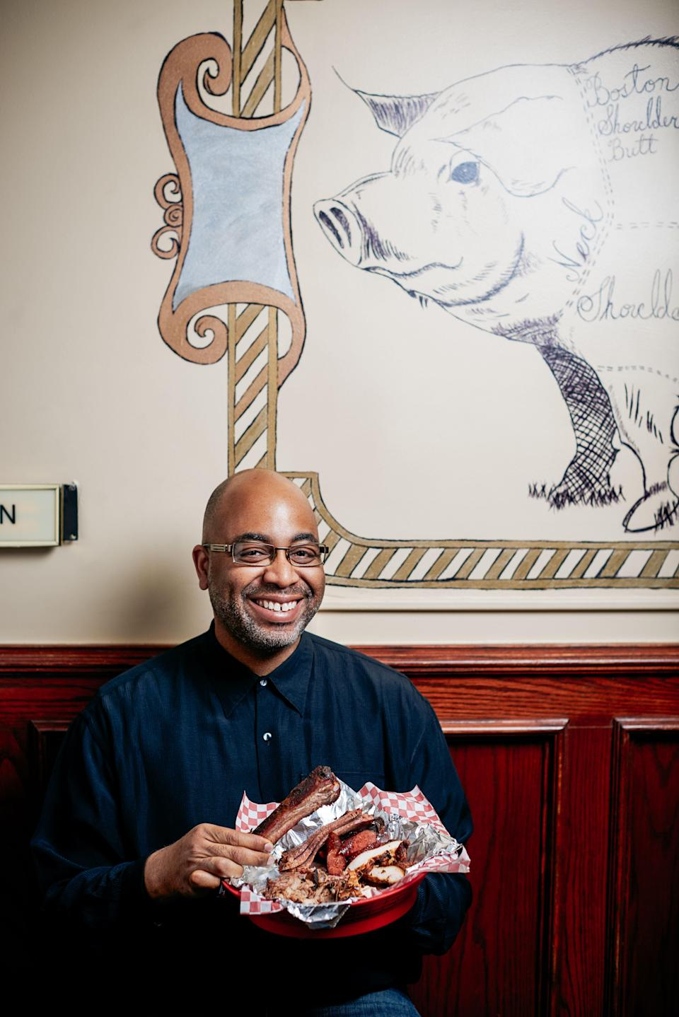 Attorney and food historian Adrian Miller at Boney's BBQ in his hometown of Denver, Colorado