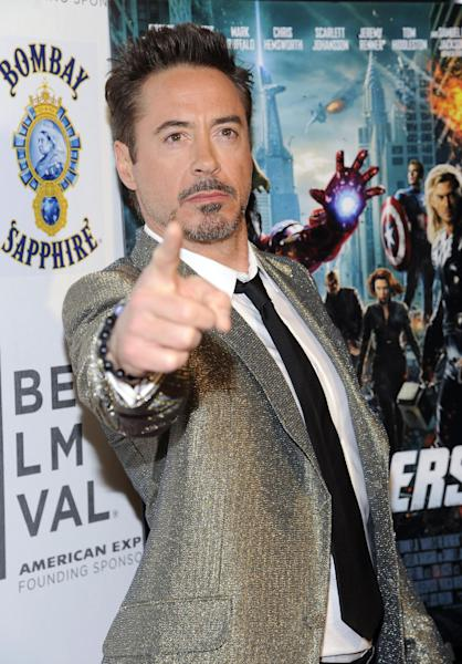 """Actor Robert Downey Jr. attends the premiere of """"The Avengers"""" during the 2012 Tribeca Film Festival on Saturday, April 28, 2012 in New York. (AP Photo/Evan Agostini)"""