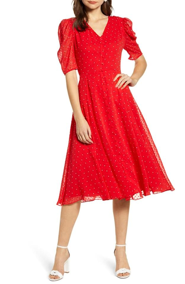 """<p>Be bold and rock this <a href=""""https://www.popsugar.com/buy/Rachel-Parcell-Chiffon--Line-Dress-489232?p_name=Rachel%20Parcell%20Chiffon%20A-Line%20Dress&retailer=shop.nordstrom.com&pid=489232&price=95&evar1=fab%3Aus&evar9=46067357&evar98=https%3A%2F%2Fwww.popsugar.com%2Fphoto-gallery%2F46067357%2Fimage%2F46598036%2FRachel-Parcell-Chiffon--Line-Dress&list1=shopping%2Cnordstrom%2Cfall%20fashion%2Cdresses%2Cfall%2Cspring%20fashion%2Csummer%20fashion&prop13=api&pdata=1"""" rel=""""nofollow"""" data-shoppable-link=""""1"""" target=""""_blank"""" class=""""ga-track"""" data-ga-category=""""Related"""" data-ga-label=""""https://shop.nordstrom.com/s/rachel-parcell-chiffon-a-line-dress-nordstrom-exclusive/5165621?origin=category-personalizedsort&amp;breadcrumb=Home%2FWomen%2FClothing%2FDresses&amp;color=red%20chinoise%20dot"""" data-ga-action=""""In-Line Links"""">Rachel Parcell Chiffon A-Line Dress</a> ($95, originally $159).</p>"""