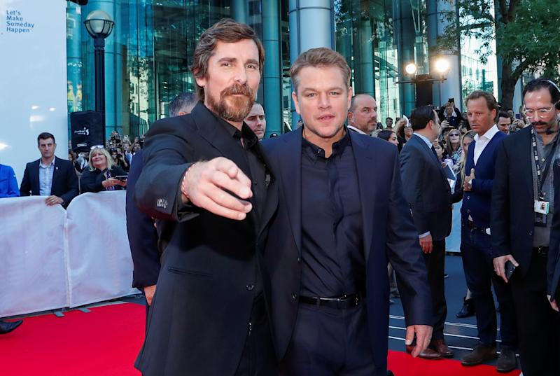"Actors Matt Damon and Christian Bale pose as they arrive at the international premiere of ""Ford V Ferrari"" at the Toronto International Film Festival (TIFF) in Toronto, Ontario, Canada September 9, 2019. REUTERS/Mario Anzuoni"