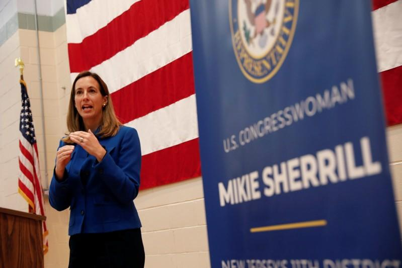 Rep. Mikie Sherrill (D-NJ) speaks during a town hall meeting at the Hanover Township Community Center in Whippany, New Jersey